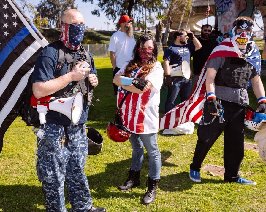 Masked alt-right supporters equipped with helmets, mace and brass knuckles. Photo sourced from Twitter.